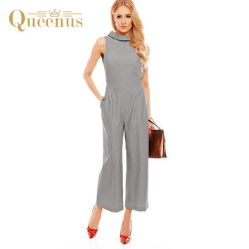 Queenus Women Jumpsuits OL Summer 2017 Waist Bow Sleeveless Backless Lace-Up Office Lady Elegant Jumpsuits Plain Women Rompers