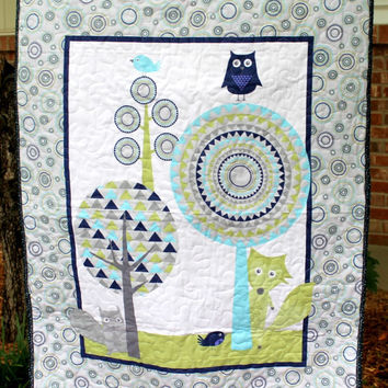 Woodland Baby Quilt, Forest Friends Panel, Gender Neutral, Meandering Quilting, Soft Flannel, Navy Lime Teal Gray