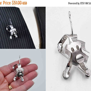 ON SALE Vintage Beau Sterling Silver Dog Brooch, Playful Dog Pin, 3D, Articulating, Stylized, Figural, Puppy, Dog Lover, Adorable! #b769