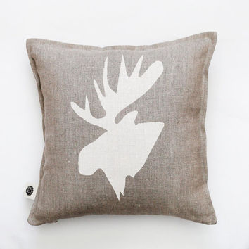 Moose head pillow cover - white moose hand painted on this accent pillow. Custom size for this decorative pillow 0414