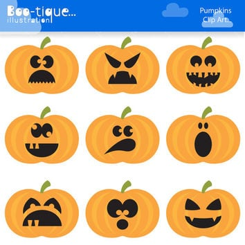 Halloween Pumpkins Digital Clipart. Halloween Clipart. Pumpkins Clipart. Halloween Vectors Pumpkins Clip Art. Pumkins Vector. Commercial Use