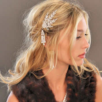 Great Gatsby Inspired Crystal Art Deco Leaf Hair Clip Headpiece