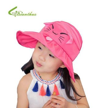 ONETOW Children Sun Cap Cute Cat Spring Summer Outdoor Baby Girl Beach Bucket Hat Cartoon Design Fisherman Caps Free Shipping 3-6Y