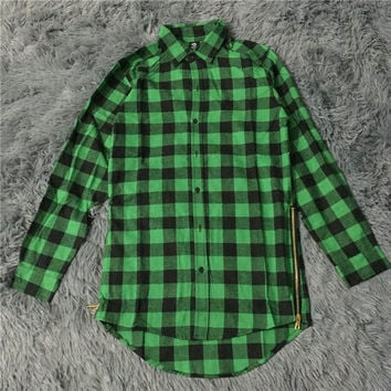 mens fashion hip hop shirts streetwear urban clothing hiphop men clothes plaid zipper shirt kanye justin bieber