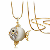 Cute Fish Shape  Pendant with Long Sweater Chain Necklace