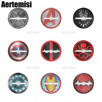 Aertemisi Phone Holder 360 Rotation Ring Stand Grip Car Mount for Smartphones and Tablets Deadpool Iron Man Arc Reactor Hydra