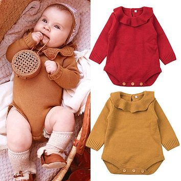 Baby Rompers Newborn Kid Baby Girls Wool Knitting Romper Long Sleeve Autumn Jumpsuit Outfit Set Baby Clothes