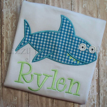 SALE- Shark applique shirt- Summer applique shirt- turquoise gingham applique shirt