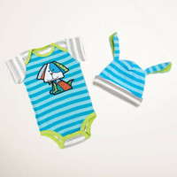 Enesco Romero Britto bebe Boy 0-6 Onesuit and Hat NWT 4037374