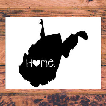West Virginia Home Decal | West Virginia Decal | Homestate Decals | Love Sticker | Love Decal  | Country | Car Decal | Car Stickers | 088