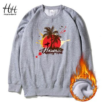 Fashion Beach Style Sweatshirts Winter Fleece Thick O-neck Pullover Men's Clothing Holiday Hawaii Printed Hoodies