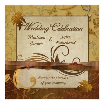 Burnished Autumn Gold Wedding Invitation