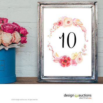 Custom Order printable wedding table number watercolor floral wreath wedding party signage printable business signs floral printable signage