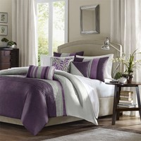 Madison Park Amherst 6 Piece Duvet Set, Full/Queen, Purple