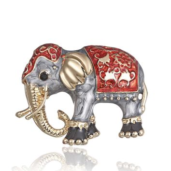 Enamel Red And Gray Elephant Brooch Pin