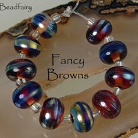 BF * Fancy Browns * Lampwork 10 Bead Set SRA