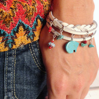 Zuni Bear Leather Cuff Charm Bracelet Southwestern Red and Turquoise White Leather