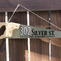 Address sign with reflective house numbers , personalized hand saw address sign. Wood shop address sign,