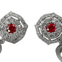 Diamond Earrings, Ruby Earrings,Chandelier Earrings, Wedding Earrings,Diamond Floral Earrings,14K White Gold , Vintage Earrings