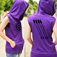 Archery t-shirt hoodie with arrow on the back side sleeveless