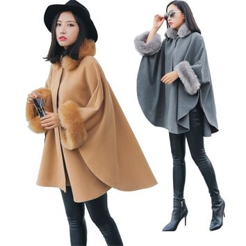2018 Women Fur Collar Cape Coat Poncho Faux Fake Fox Fur Wool Outwear Stole Shawl Fashion