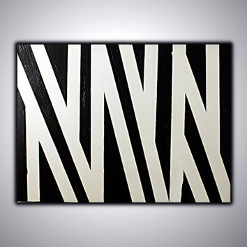 Abstract Painting on Canvas Black and White,   Modern Wall Art,Acrylic Abstract, Minimalist art, Free Shipping !