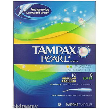 Tampax Pearl Tampons Plastic, Duopack, Unscented Damaged Package