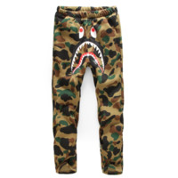 Bape Aape New fashion shark letter print camouflage thick keep warm couple pants