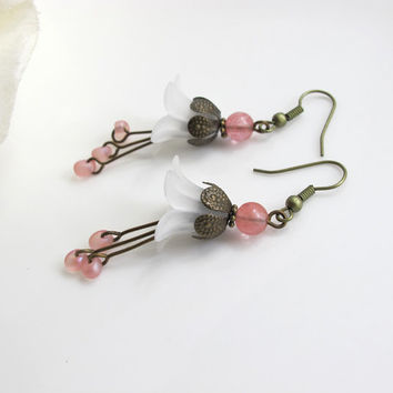 White Lucite Floral Cherry Quartz Glass Earrings With Pink Czech Glass Drops. Nature Woodlands Inspired Floral Earrings Bridal Wedding Gift