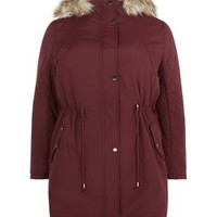 Plus Size Burgundy Faux Fur Hooded Parka
