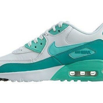 Nike Air Max 90 Letter Big Kids Style Shoes : 833376, White/Hyper Turquoise/Clear Jade