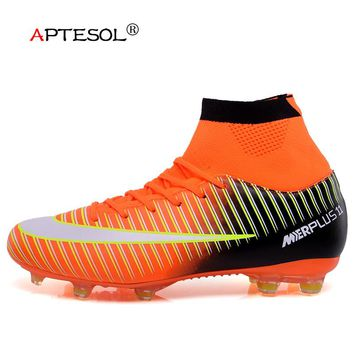 APTESOL High Ankle Socks Boots FG Soccer Shoes for Men Youth Kids Outdoor High Top Spike Football Boots Soccer Cleats Sneakers
