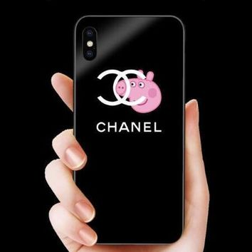 Chanel X Peppa Pig Trending Stylish Glass iPhoneX 8 8 Plus 7 7 Plus Lovers iPhone Cover Case Black I12044-1