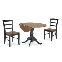 International Concepts K57-42DP-C2P-2 Dining Essentials Black and Cherry 42 Inch Dual Drop Leaf Dining Table with Two Madrid Chairs