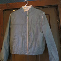 80s vintage leather jacket / cafe racer moto jacket / gray / SIZE large