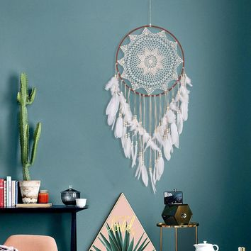 2018 Hot Sale Large Handmade Dreamcatcher White Feather Lace Indian Dream Catcher Hanging Decoration Ornament Mascot Gift fkk4