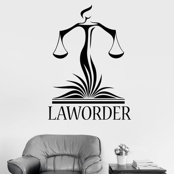 Vinyl Wall Decal Law Office Lawyer Justice Libra Court Stickers Unique Gift (1800ig)