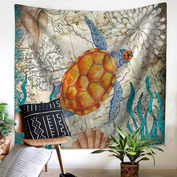 150 X 130CM Sea Turtle Wall Tapestry Sea Horse Pattern Tapete Bedroom Blanket Table Cloth Yoga Mat Home Decor