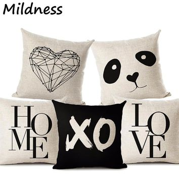 Deer Home Love Star Panda Printed Cotton Linen Pillow Case Decorative Office Home Throw Pillow Cover Almofada Cojines Coussin