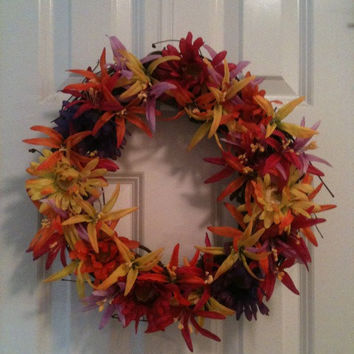 SALE Bright Summer/Fall Floral Front Door Wreath