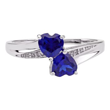 1.10 Ct Heart Blue Sapphire and Diamond Accent 925 Sterling Silver Ring