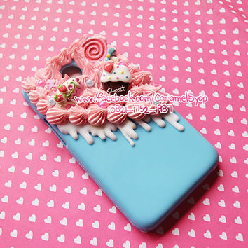Half Whipped Cream Kawaii Decoden case with Sweet by CaramelSyop