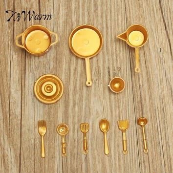 KiWarm 10pcs set DIY Mini Food Kitchen Pot Spoon Utensils Tableware Home Simulation Dollhouse Toy Ornament Craft Set Gold Silver