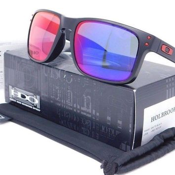 Oakley HOLBROOK Sunglasses OO9102-36 Black frame with Red Iridium lenses