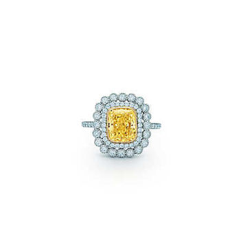 Tiffany & Co. - Tiffany Enchant® cushion-cut yellow diamond ring in platinum and 18k gold.