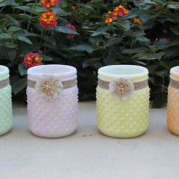 Set of four shabby chic colorful hobnail milk glass jars wrapped in jute and burlap flowers