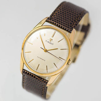 Wristwatch TISSOT for men, self winding watch cal 783, gold plated AU 20 watch, retro Swiss made watch, classical watch, new luxury strap