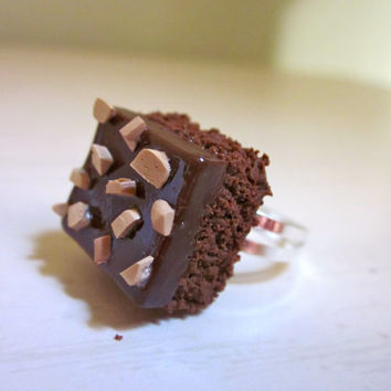 Polymer Clay Fudge and Nut Brownie Ring