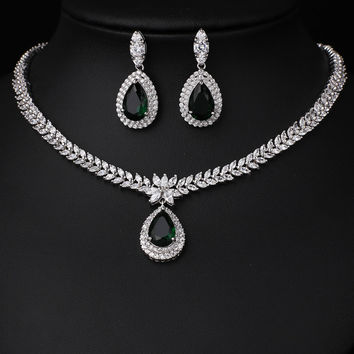 Platinum Plated AAA Cubic Zircon Jewelry Set  For Wedding