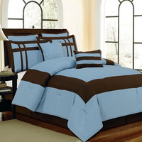 12pc King Georgia Blue/ Chocolate Luxury Bed Set
